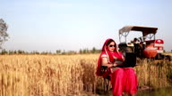 Female farmer working on laptop in the field video