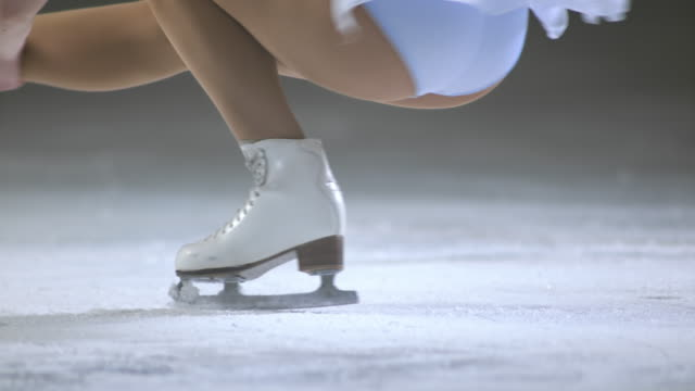 SLO MO Female figure skater performing a sit spin video