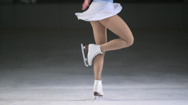 SLO MO LD Female figure skater performing one foot spin video