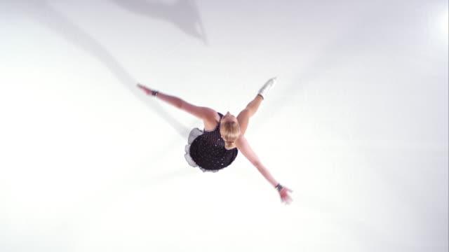 SLO MO CS Female figure skater spinning video