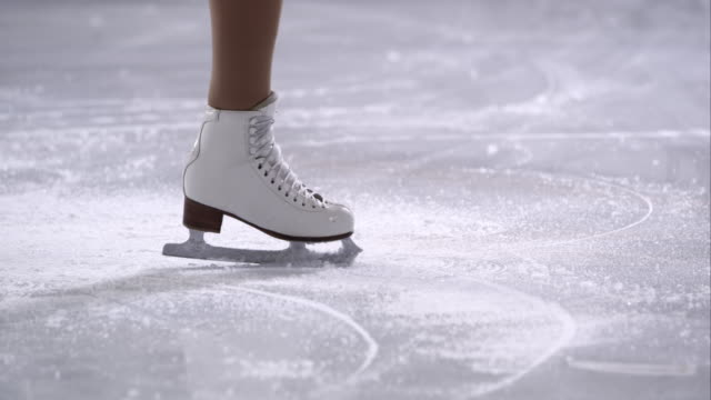 SLO MO TS Female figure skates in a crossfoot spin video