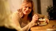 Female friends talking  in cafe video