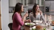 Female gay couple make a toast at dinner in their kitchen, shot on R3D video