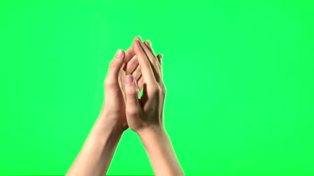 Female hand gestures on green screen video