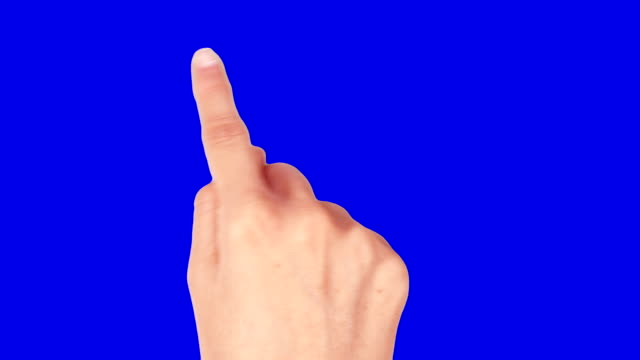 Female hand. Mobile phone. Touchscreen gestures. Blue Screen. video