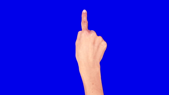 Female hand. Tablet. Touchscreen gestures. Blue screen. video