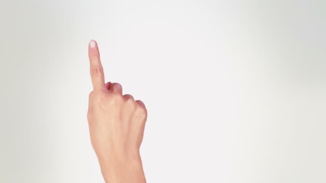 Female hand. Tablet. Touchscreen gestures. Luma matte. video