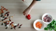 Female Hands Cutting Pepper, Making Salad. Top View Chief Cutting Vegetables. Healthy Lifestyle, Diet food video