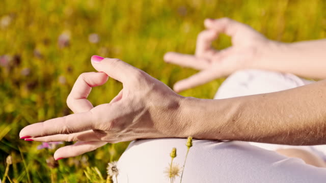 DS CU Female hands during meditation video