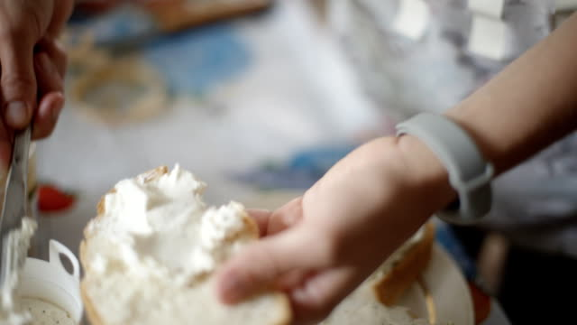 Female hands making a cheese sandwich. video