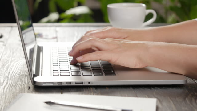Female hands typing on a laptop keyboard video