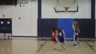 Female high school basketball players competing in a game video