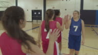 Female high school basketball players shaking hands and congratulating other team video