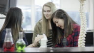 Female high school students working in a science laboratory video