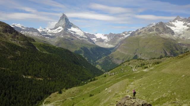 Female hiker admires the Matterhorn video