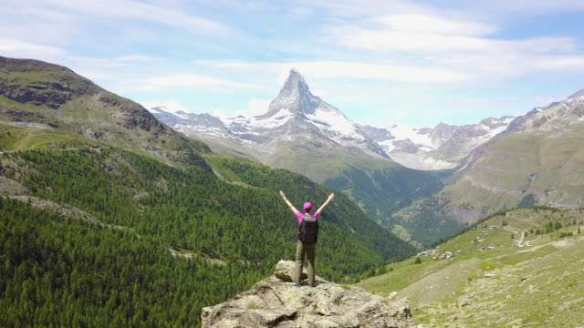 Female hiker admires the view video