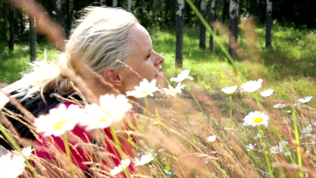 Female hiker relaxes in field of daisies video