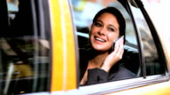 Female in Taxi with Cell Phone video