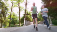 DS Female jogging across a busy bridge in the park video