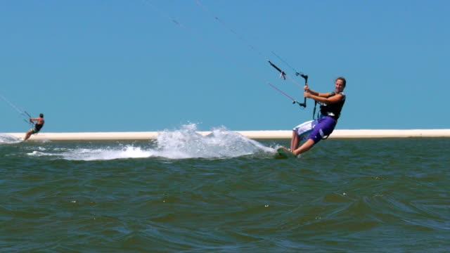 Female kiteboarding riding video