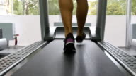Female legs walking on treadmill in gym. Young woman exercising during cardio workout. Feet of girls in sport shoes training indoor at sport club. Close up video