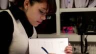 Female manager using agenda video