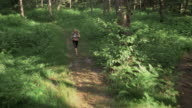 AERIAL Female marathon competitor running across forest clearing video