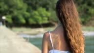Female Model Walking Slow Motion Sea Ocean Vacation Concept HD video