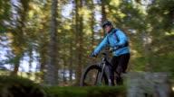 Female mountain biker riding through forest in sunshine video