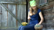 female mushroom picker woman clean dirt from fresh chanterelle fungus video