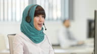 TU Female Muslim call center operator video