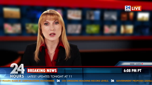 HD: Female Newsreader Presenting The News video