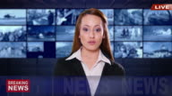 4K Female newsreader with black suit on green background video