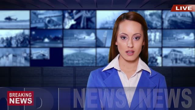 4K Female newsreader with blue suit in tv studio video