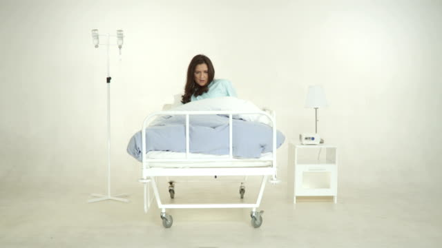Female Patient Wake On A Bed In Hospital Room video