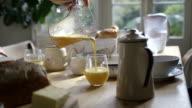Female poring fresh Orange Juice in glass video