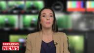 Female presenter in television studio video