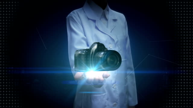 Female researcher, Engineer open palm, SLR camera. video