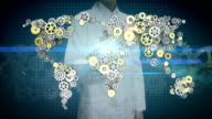 Female researcher, Engineer open palm, Steel golden gears making global world map. global connect technology.2. video