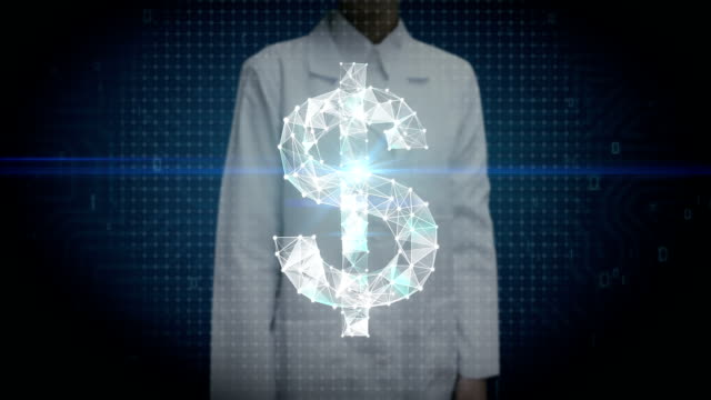 Female researcher, Engineer touched screen, Numerous dots gather to create a Dollar currency sign, low-polygon web. video