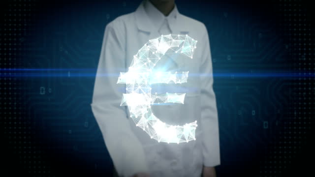 Female researcher, Engineer touched screen, Numerous dots gather to create a Euro currency sign, low-polygon web. video