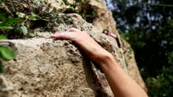 Female rock climber freeclimbing video