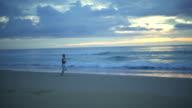 Female Runner On The Evening Run video