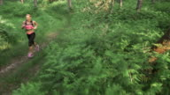AERIAL Female running on a forest path in the morning video