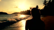 Female silhouette at sunset, woman standing on beach and watching sun going down video