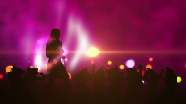 Female Singer Silhouette With Crowd video