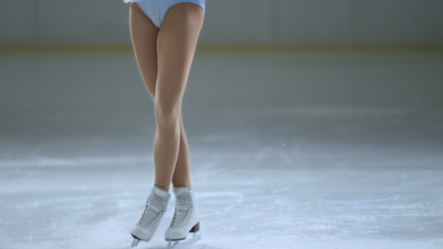 SLO MO TU Female skater performing back scratch spin variation video