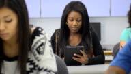 Female Student use Digital Tablet Computer video