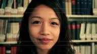 Female talking to webcam video