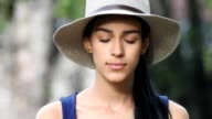 Female Teen Opens Eyes  Smiles video